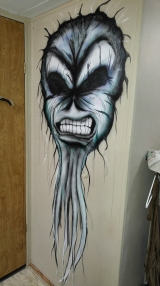 airbrush; markers; paint; acrylic; brush; wall; mural; monster; skull; leather; evil; metal; rock