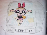 poster; color pencils; tv; monitor; markers; Powerpuff Girls; Blossom