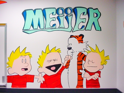 https://beatnikart.com; mural; wall; paint; acrylic; marker; pencil; Calvin and Hobbes; Meijer