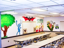https://beatnikart.com; mural; wall; paint; acrylic; marker; pencil; Batman; Powerpuff Girls; Flik; tree; Calvin; Hobbes; Calvin and Hobbes; Mojo Jojo