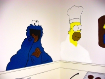 Cookie Monster; Homer; Simpson; marker; paint; acrylic; wall; mural; pencil
