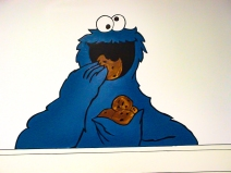 wall mural; Cookie Monster; Marker; pencil; paint; acrylic