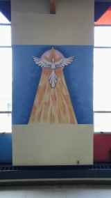 wall; mural; blocks; church; dove; peace; flame; airbrush; paint brush; acrylic; paint; markers