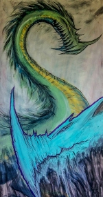 Dragons; wall; mural; acrylic; paint; pencils; paint; brushes; markers