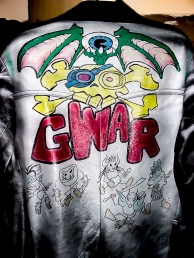 https://beatnikart.com; GWAR; leather; jacket; airbrush; metal; rock; markers; Oderus Urungus; Flattus Maximus; Balsac the Jaws of Death; Beefcake the Mighty; Jizmak Da Gusha