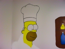 Homer; Simpson; the Simpsons; wall; mural; paints; acrylic; brush; marker