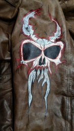 airbrush; markers; paint; acrylic; brush; wall; mural; monster; skull; leather; Jacket; evil; metal; rock