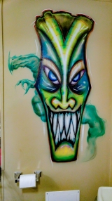 Tiki; airbrush; markers; paint; acrylic; brush; wall; mural; monster; Monster