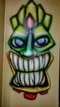Tiki; airbrush; markers; paint; acrylic; brush; wall; mural; monster